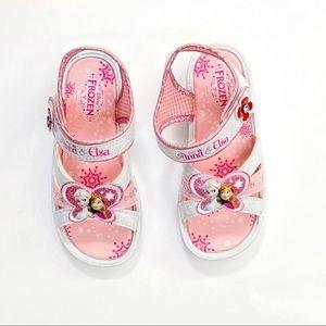 Disney Frozen Anna Elsa pink white open toe sandal